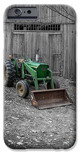 Barns Photographs iPhone Cases - Old John Deere Tractor iPhone Case by Edward Fielding