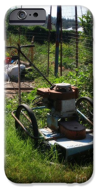 Work Tool Digital iPhone Cases - Old Junky Lawn Mower iPhone Case by Michael Braham