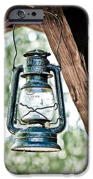 Hurricane Lamp iPhone Cases - Old kerosene lantern. iPhone Case by Jt PhotoDesign