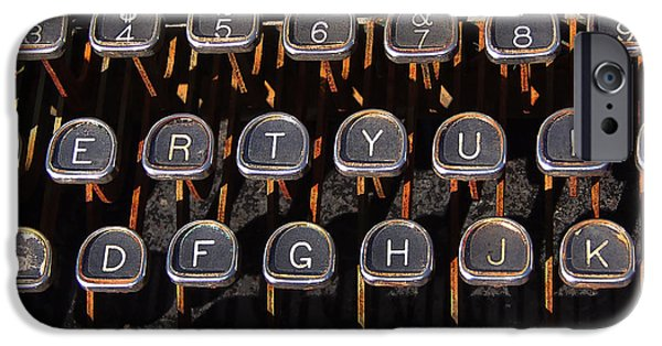 Typewriter Keys Photographs iPhone Cases - Old Keyboard iPhone Case by Art Block Collections
