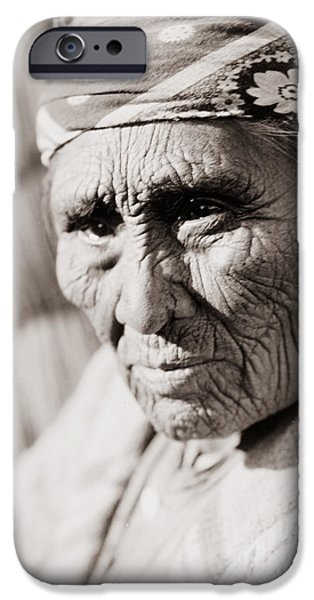 Mourning iPhone Cases - Old Klamath woman circa 1923 iPhone Case by Aged Pixel