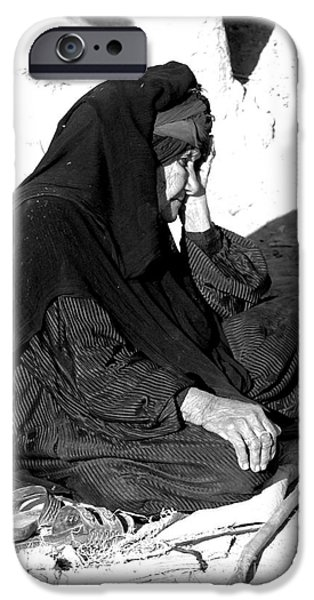 Iraq iPhone Cases - Old Lady In Stress During A Millitary iPhone Case by Andrew Chittock