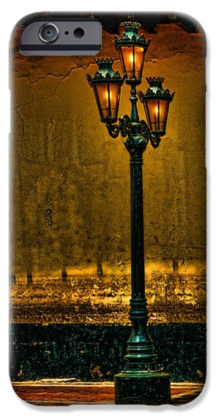 Night Lamp iPhone Cases - Old Lima Street Lamp iPhone Case by Mary Jo Allen