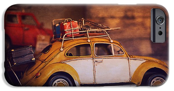 Toy Shop Digital iPhone Cases - Old Little Yellow Car iPhone Case by Maria Angelica Maira