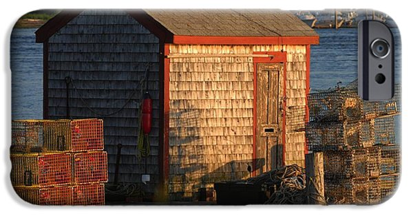 Lobster Bouys iPhone Cases - Old Lobster Shack iPhone Case by Pamela Hodgdon