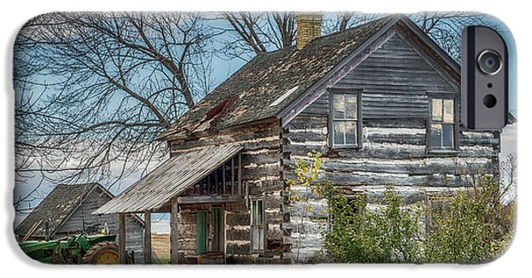 Log Cabin Art iPhone Cases - Old Log Cabin iPhone Case by Paul Freidlund