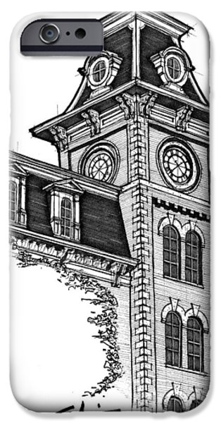 Arkansas Drawings iPhone Cases - Old Main iPhone Case by Calvin Durham