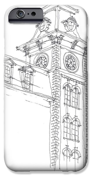 Arkansas Drawings iPhone Cases - Old Main Study iPhone Case by Calvin Durham