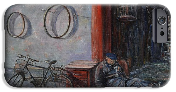 - Occupy Beijing iPhone Cases - Old Man and His Bike iPhone Case by Xueling Zou