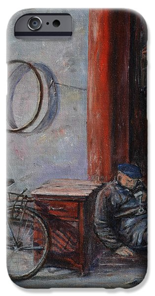 Old Man and His Bike iPhone Case by Xueling Zou