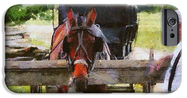 Suspenders iPhone Cases - Old Man And His Horse iPhone Case by Dan Sproul