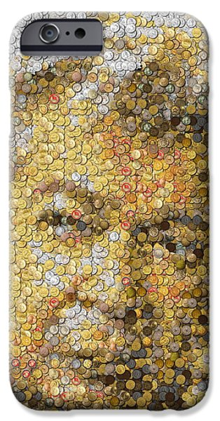 Coins Mixed Media iPhone Cases - Old Man Coin Mosaic iPhone Case by Paul Van Scott