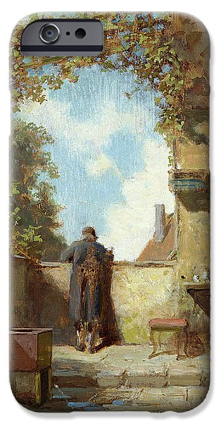 Balcony iPhone Cases - Old Man On The Terrace Oil On Panel iPhone Case by Carl Spitzweg