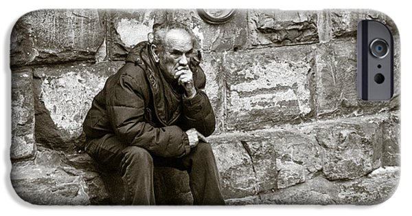 Homeless iPhone Cases - Old Man Pondering iPhone Case by Susan  Schmitz