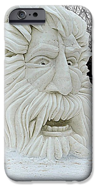 Figure iPhone Cases - Old Man Winter Snow Sculpture iPhone Case by Kay Novy