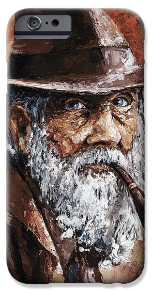 Rust iPhone Cases - Old Man with Pipe iPhone Case by Emerico Imre Toth
