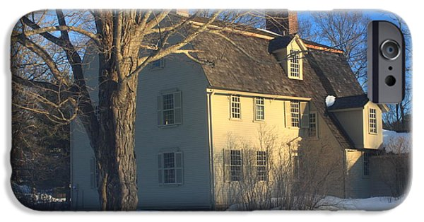 Concord. Winter iPhone Cases - Old Manse Concord in Winter iPhone Case by John Burk