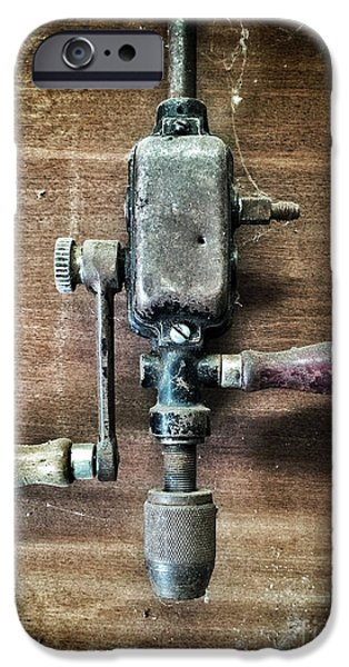Old Manual Drill iPhone Case by Carlos Caetano