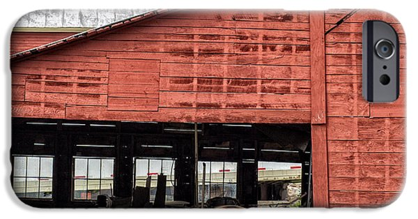 Workshop iPhone Cases - Old Massey Ferguson Red Tractor in Barn iPhone Case by Edward Fielding