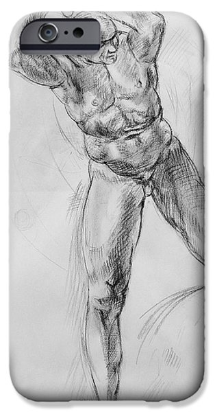 Old Masters iPhone Cases - Old Masters Study Nude Man by Annibale Carracci iPhone Case by Irina Sztukowski