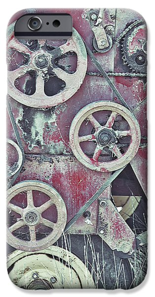 Work Tool Mixed Media iPhone Cases - Old Mechanical - Craquelure iPhone Case by Steve Ohlsen