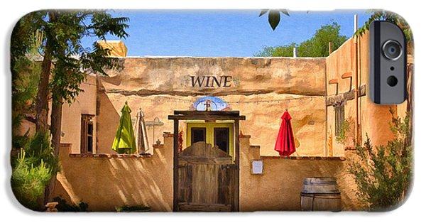 Winetasting iPhone Cases - Old Mesilla Wine Tasting Room iPhone Case by Priscilla Burgers