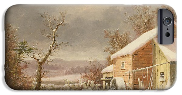 Old Mills iPhone Cases - Old Mill in Winter iPhone Case by George Henry Durrie