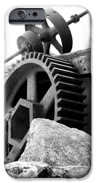 Grist Mill iPhone Cases - Old Mill of Guilford Gears Black and White iPhone Case by Sandi OReilly