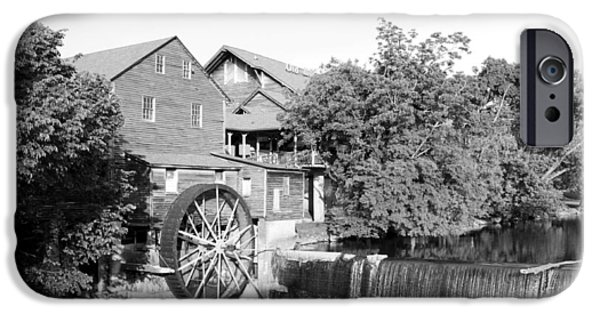 Tennessee Historic Site iPhone Cases - Old Mill Pigeon Forge Tennessee - BW iPhone Case by Cynthia Woods