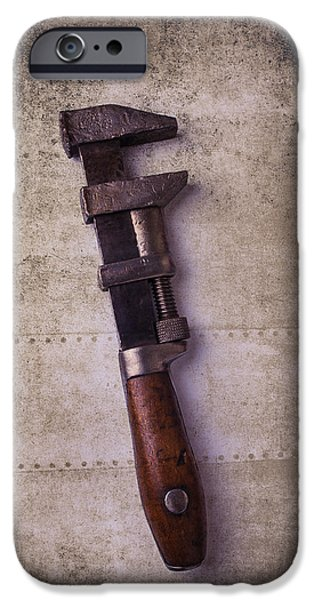 Work Tool iPhone Cases - Old Monkey wrench iPhone Case by Garry Gay