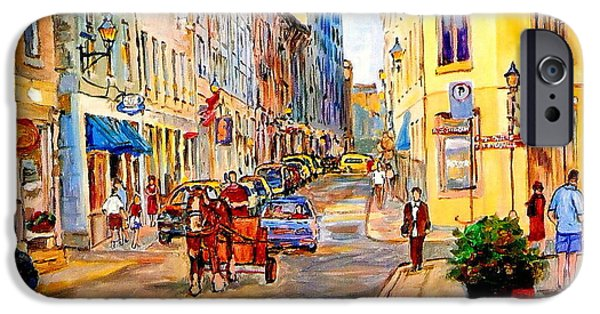 Montreal Restaurants iPhone Cases - Old Montreal Paintings Youville Square Rue De Commune Vieux Port Montreal Street Scene  iPhone Case by Carole Spandau