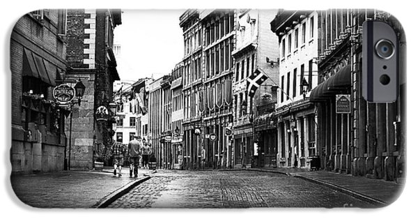 Streets Of Montreal iPhone Cases - Old Montreal Streets iPhone Case by John Rizzuto