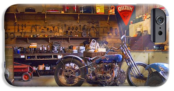 Pipe iPhone Cases - Old Motorcycle Shop 2 iPhone Case by Mike McGlothlen
