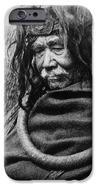 Port Hardy iPhone Cases - Old Nakoaktok Man iPhone Case by Aged Pixel