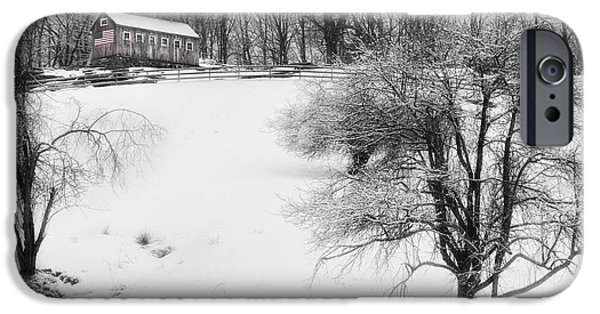 Barns In Snow iPhone Cases - Old New England Barn In Winter iPhone Case by Bill  Wakeley