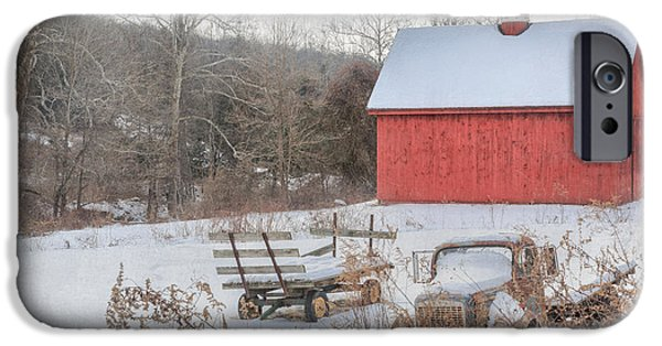 Red Barn In Winter Photographs iPhone Cases - Old New England iPhone Case by Bill Wakeley
