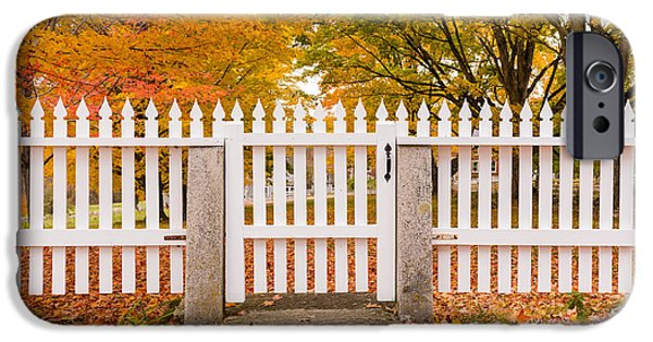 Yellow Leaves iPhone Cases - Old New England White Picket Fence iPhone Case by Edward Fielding