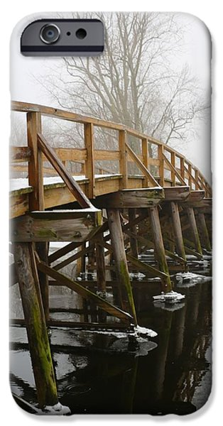 Concord. Winter iPhone Cases - Old North Bridge iPhone Case by Allan Morrison
