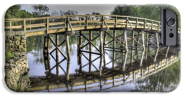 Concord Ma. iPhone Cases - Old North Bridge iPhone Case by Phillip McNeil