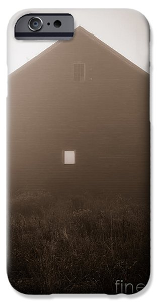 Old Barns iPhone Cases - Old Nutt Barn in the fog iPhone Case by Edward Fielding