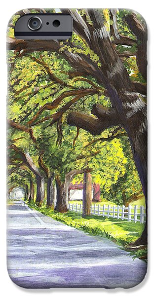 Tree Art Print iPhone Cases - Old Oak Tree iPhone Case by Elaine Hodges