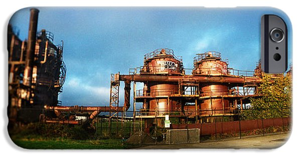 Fuel And Power Generation iPhone Cases - Old Oil Refinery, Gasworks Park iPhone Case by Panoramic Images