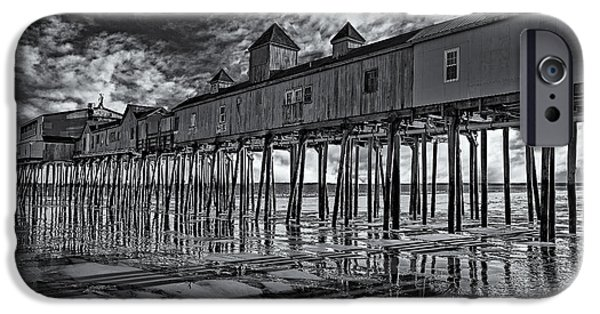 Susan Candelario Photographs iPhone Cases - Old Orchard Beach Pier BW iPhone Case by Susan Candelario