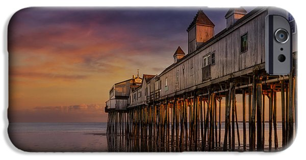 United iPhone Cases - Old Orchard Beach Pier Sunset iPhone Case by Susan Candelario