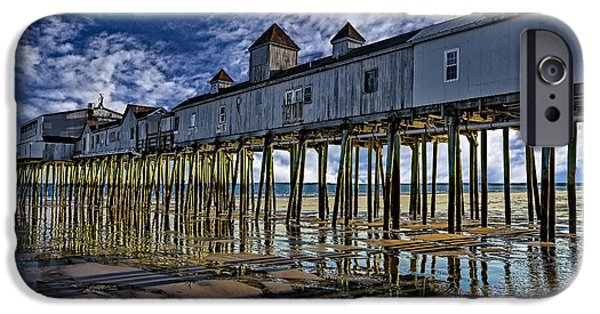 Maine iPhone Cases - Old Orchard Beach Pier iPhone Case by Susan Candelario