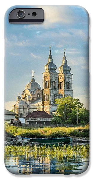 River View Pyrography iPhone Cases - Old orthodox church in Danube Delta iPhone Case by Attila Simon