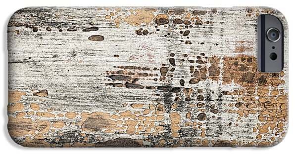 Chip Photographs iPhone Cases - Old painted wood abstract No.1 iPhone Case by Elena Elisseeva