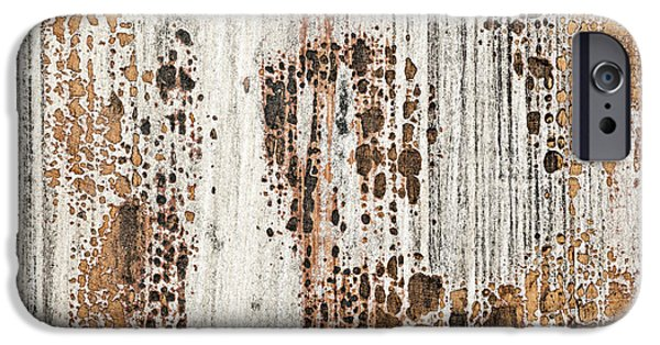 Chip Photographs iPhone Cases - Old painted wood abstract No.2 iPhone Case by Elena Elisseeva