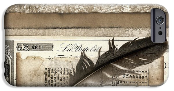 Mathematic iPhone Cases - Old Papers and a Feather iPhone Case by Carol Leigh