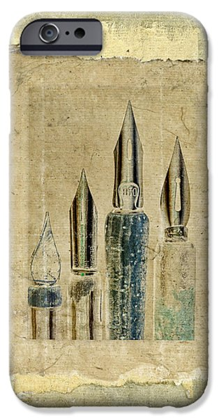 Pen Digital Art iPhone Cases - Old Pens Old Papers iPhone Case by Carol Leigh